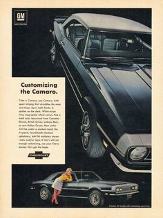 """An original 1968 advertisement for the Camaro SS Coupe car. A shiny deep blue with white stripe tires and a beautiful blonde looking at you for a ride. """"Customizing the Camaro"""" -1968 Camaro car advert"""
