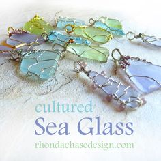 Cultured Sea Glass Earrings - Lavender & Silver Wire Wrapped Dangles