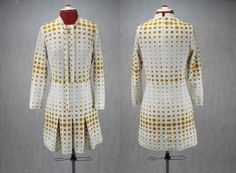 Mustard and white Polka Dot 1960's vintage by PatternVintageLondon