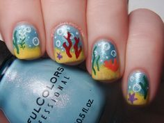 Disney Challenge: The Little Mermaid (Under the Sea) I did this mani before, about two years ago, and I can say it looks so much better this time!! The original idea came from a ProfessionalDQ video tutorial, but since the video seems to have gone the way of the Dodo I took somelibertiesand put my own spin on it. :) http://spellboundnails.blogspot.com/2013/04/disney-challenge-little-mermaid.html