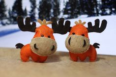 Little funny mooses.. probably from Canadian north!  Check me up at * https://www.etsy.com/ca/shop/FlossyShapesShop *
