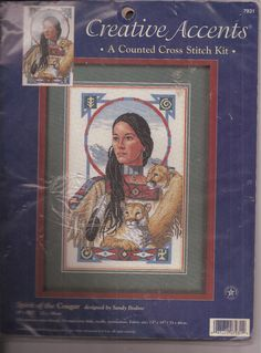 Spirit of the Cougar Counted Cross Stitch Kit Dimensions 7931 Native American  #Dimensions #Picture