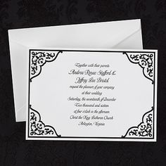 """Corner Design - Invitation for weddings An intricate black design is displayed in the corners of this bright white wedding invitations.  Dimensions: 7 1/4"""" x 5 1/4"""" Card• Price Includes: Printed invitation and blank double bright white envelopes. • Production Time: 24-48 Hours"""