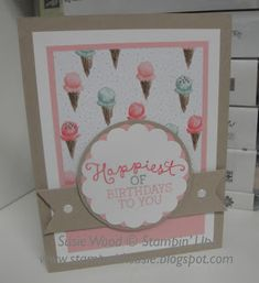 Stampin' Up!- This is just sooo sweet, using 'Birthday Blooms' & the coordinating designer paper called Birthday Bouquet!