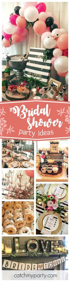 Don't miss this gorgeous Bridal Shower. The balloon decorations at the Mimosa bar are fantastic!! See more party ideas and share yours at CatchMyParty.com