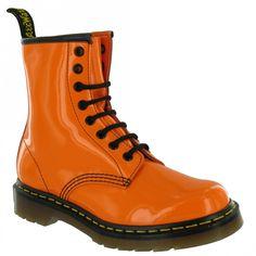 orange boots   Dr Martens Dr Martens 1460 Neon Patent Leather Boots - Orange
