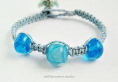 Beaded Macrame Bracelet Blue Lampwork SRA