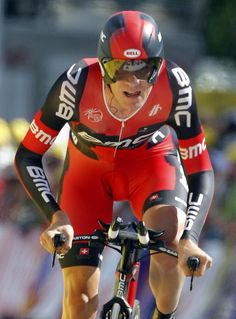 BMC Racing Team rider Van Garderen of the U.S. crosses the finish line during the individual time trial in the ninth stage of the 99th Tour de France cycling race between Arc et Senans and Besancon