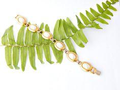 Chunky Pearl Bracelet Designer Signed Link by EclecticVintager