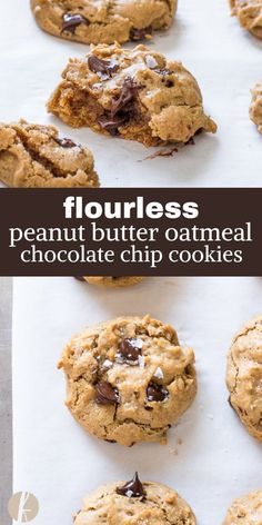 Flourless Peanut Butter Oatmeal Chocolate Chip Cookies are easy grain and refined sugar free cookies packed with peanut butter chewy oats and dark chocolate DF GF via FlavortheMoment cookies peanutbutter oatmeal chocolatechip glutenfree flourless recipe Healthy Sweets, Healthy Baking, Healthy Food, Healthy Cookie Recipes, Coconut Sugar Recipes, Gluten Free Peanut Butter Cookies, Healthy Meals, Peanut Recipes, Diabetic Desserts