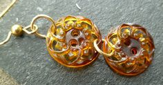 Vintage resin button earrings amber lace by TheBeckoningCat