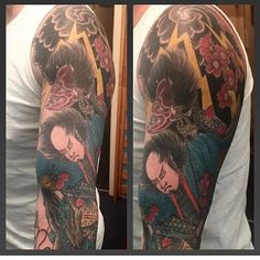 【ihatetattoos】さんのInstagramをピンしています。 《@kreen62tattoo #japanesesleeve #ongoingtattoo #samurai #demon #lighteningbolt #cherryblossoms on @skent3》