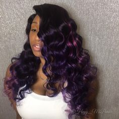 Purple hair color is the most popular of bright colors ❤ Our tips and easy step-by-step instructions help you to dye hair in violet ❤ See more at LadyLife ❤ Purple Balayage, Balayage Hair, Purple Highlights, Curly Hair Styles, Natural Hair Styles, Hair Color Purple, Purple Weave, Hair Colors, Purple Hair Black Girl