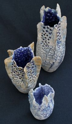 David Brown - Ceramics - striking glazing and design on these pieces. Natural forms, interesting textures and that deep blue interior