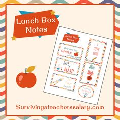FREE back to school printable lunch box notes - a great way for parents to let their kids know they are thinking of them during the school day! Apple, science, rocket, school supply and inspirational cards to print