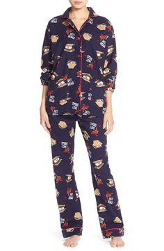 PJ Salvage Print Navy Flannel Pajamas - S'more Love
