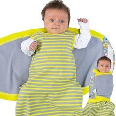 casafeli Mollywrap Baby Schlafsack & Pucktuch Molly womby Kombination grau zitrone - pucken mit dem Pucksack