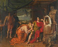 Priam demandant à Achille le corps de son fils d'après Alexander IVANOV Alexander Ivanov, Homer Iliad, Oil On Canvas, Canvas Art, Beaux Arts Paris, Greek Warrior, Trojan War, Russian Painting, Russian Art