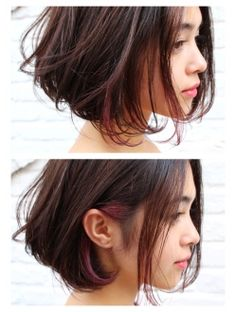 Hidden burgundy under a messy bob | jako