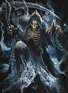 Grim Reaper: Give All Ghost Drain, Give All Undead Animate Grim Reaper Art, Grim Reaper Tattoo, Don't Fear The Reaper, Dark Fantasy Art, Dark Art, Fantasy Creatures, Mythical Creatures, La Santa Muerte Tattoo, Skull Art