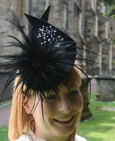 Beaded peahbloom Egret Cocktail hat BY BARBARA M BROWN #millinery #hats #HatAcademy