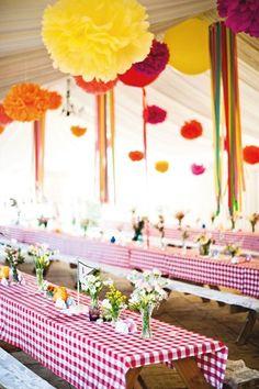 I love the idea of gingham picnic clothes. Picnic/ Food truck theme (BridesMagazine.co.uk)