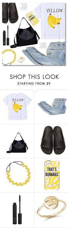 """Banana print"" by laurafox27 ❤ liked on Polyvore featuring Balmain, Valentino, WithChic, Kate Spade and Bing Bang"