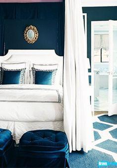 Bedroom Bliss. Peacock blue. Interior Designer:  Mary