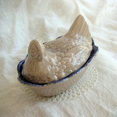 Pottery Hen on Nest - Blue Spongeware