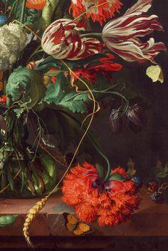 "jaded-mandarin: "" Jan Davidsz de Heem, detail from Vase of Flowers, 1660 "" Poster Mural, Inspiration Artistique, Pintura Exterior, Still Life Flowers, Guache, Still Life Art, Botanical Prints, Oeuvre D'art, Painting Inspiration"