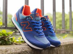 New Balance 574 Woven   Blue   Orange