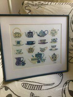 My cross stitch tea cups, tea pots and sugar bowls, 2005.