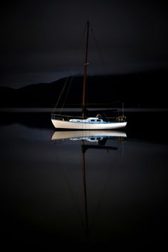 ♂ Lonely boat dark night silence nature reflection
