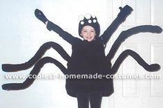 Don't be frightened - these cool homemade spider costumes won't bite. They're fun kid Halloween costumes you can easily make on your own. You'll also find loads of homemade costume ideas and DIY Halloween costume inspiration. Halloween Costumes Kids Homemade, Cute Halloween, Holidays Halloween, Cool Costumes, Costume Ideas, Spider Costume, Diy For Kids, Googly Eyes, Fall Decorating