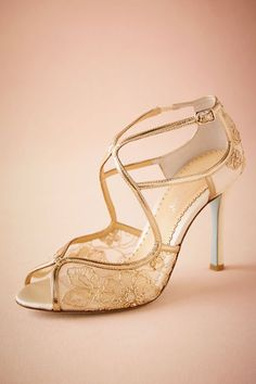 BHLDN Gilt Lace Heels in  Shoes & Accessories Shoes at BHLDN