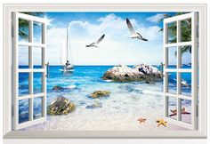 paradise, Sunshine beach 3 D window view removable wall sticker - Google Search