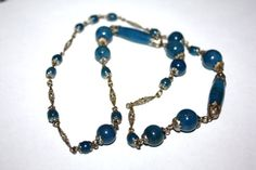 Vintage Necklace Blue Lapis Glass Silver Plate 1940s by patwatty, $30.00