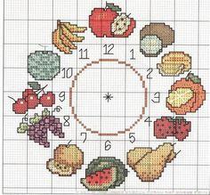 Fruit kitchen clock - free cross stitch pattern