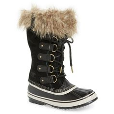 Women's Sorel 'Joan Of Arctic' Waterproof Snow Boot (116.500 CLP) ❤ liked on Polyvore featuring shoes, boots, lace up snow boots, lacing boots, sorel footwear, laced boots and laced up shoes