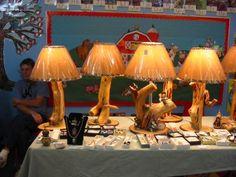 Custom made rustic wood Lamps