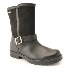 Aqua Jessie, Black Leather/Textile Girls Zip-up Water-resistant Boots - Boots & Wellies - Girls Shoes