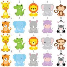 Safari Baby Animals Clipart / Jungle Animals Clipart / Zoo Animals Clipart - acrylbilder safari kinder - Home Safari Party, Safari Jungle, Safari Theme, Party Animals, Jungle Animals, Animal Party, Wild Animals, Clipart Baby, Jungle Clipart