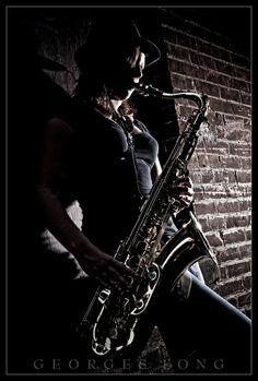 poses, woman, saxophone, street, music, lighting, photography