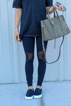 An easy outfit for running errands or enjoying a lazy Saturday. oversized cotton tee + mesh leggings + black slip on's
