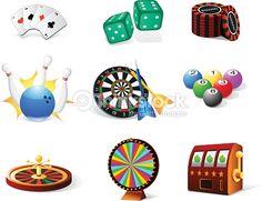 Various types of gambling icons : Vector Art