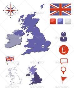 United Kingdom Map And Icons Set #GraphicRiver United Kingdom map, icons and buttons. Editable vector set. EPS 10.