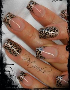 Nail art Christmas - the festive spirit on the nails. Over 70 creative ideas and tutorials - My Nails Leopard Nail Art, Leopard Print Nails, Leopard Prints, Leopard Nail Designs, Leopard Animal, Fancy Nails, Trendy Nails, Edgy Nails, Grunge Nails