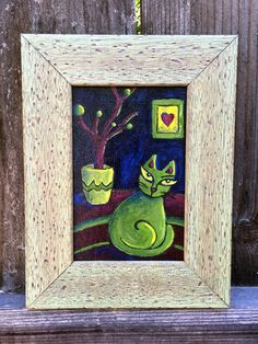 Found a cute little frame for my painting!  #cat #art #painting
