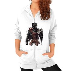 Red Knight Splatter Zip Hoodie (on woman)