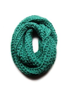 Burnham Park Infinity Scarf, Pale Emerald Green. Hand-crocheted.